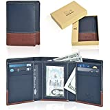 RFID Leather Trifold Wallets for Men - Handmade Slim Mens Wallet 6 Credit Card ID Window and Gift Box Secure by Estalon (3.5x4.4x0.75, Navy/Cognac Nappa)