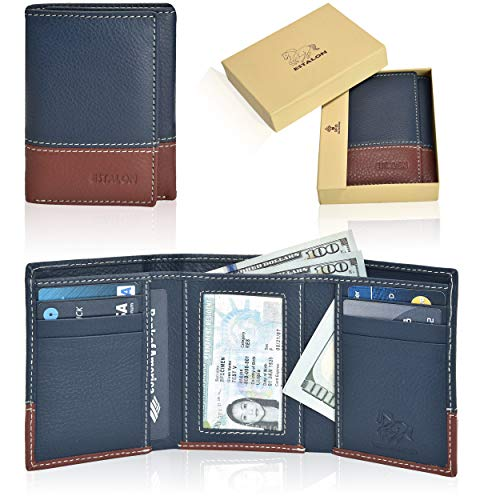 Brown Leather Tri Fold Wallet - RFID Leather Trifold Wallets for Men - Handmade Slim Mens Wallet 6 Credit Card ID Window and Gift Box Secure by Estalon (3.5x4.4x0.75, Navy/Cognac Nappa)