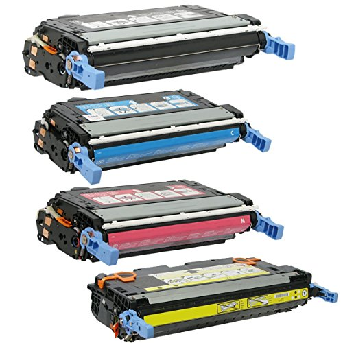 HQ Supplies © Professionally Remanufactured Replacements for HP 643A Q5950A Q5951A Q5952A Q5953A Toner Cartridge Set (1 of each Black, Cyan, Yellow, Magenta) for use in HP Color LaserJet 4700, 4700n, 4700dn, 4700dtn, 4700ph+ Printers