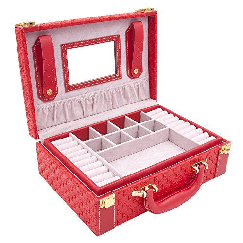 MISYLPH Multifunctional Two-Layer Woven Leather Jewelry Box Organizer with Handle (Accessories Jewelry Box)