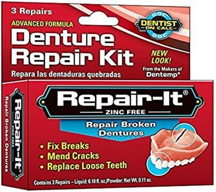 Dentemp Denture Repair Emergency Denture Repair Kit Safe /& Easy To Use 3 Repairs