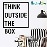 Melissalove Inspirational Motivational Office decoration Think Outside The Box Quotes Wall Decal Art Decor Home Wall Decor Stickers D706 (Black)