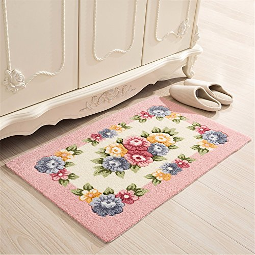 XXSZKAA Household Doors Doormats Bathroom Kitchen Doors Bathrooms Anti-Slip Mat Bathroom Carpet Bedrooms Balcony Pink Rose Flower Mats, A1,50 - Flower Pink Rose Carpet