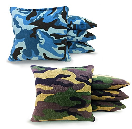 8 Standard Corn Filled Regulation Duck Cloth Cornhole Bags Free Expedited Shipping! 17 Colors Available (You Pick)!! (Blue Camo/Green Camo) (Camouflage Bean Bag)