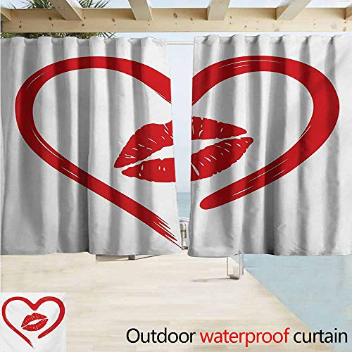 (AndyTours Outdoor Waterproof Curtains,Kiss Heart Drawn in Lipstick and Woman Lip Imprint Romance Passion and Tenderness Message,Rod Pocket Energy Efficient Thermal Insulated,W72x72L Inches,Red White )
