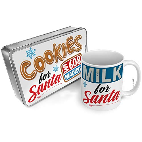 NEONBLOND Cookies and Milk for Santa Set 608 Madison, WI red/blue Christmas Mug Plate Box -