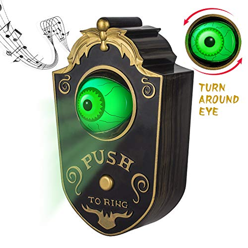 Halloween Door Decoration Ideas Dorm (Sler Halloween Decoration for Indoor & Outdoor, Animated Lightup Talking Eyeball Doorbell for Animatronic Halloween Decor, Trick or Treat Event for Kids, Haunted House Halloween Party Prop)