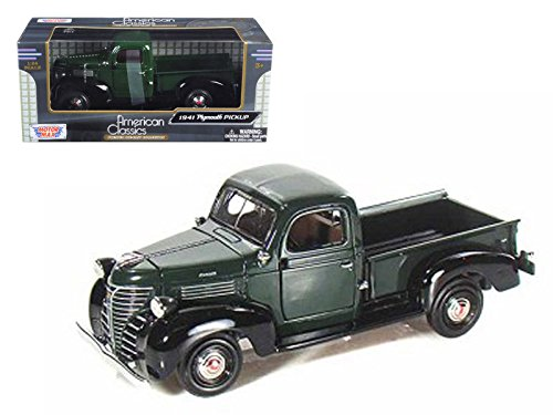 New 1:24 W/B AMERICAN CLASSICS COLLECTION - GREEN 1941 PLYMOUTH PICK UP Truck Diecast Model Car By MOTOR MAX