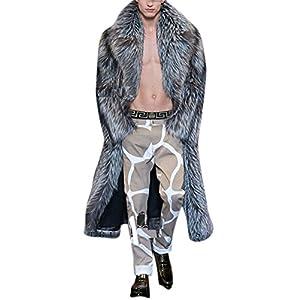 Men's Maxi Gery Fashion Fake Mink Faux Fox Fur Jacket Oversized Coat Outerwear 2XL Grey