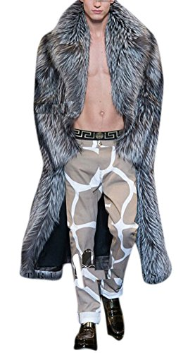 Men's Maxi Gery Fashion Fake Mink Faux Fox Fur Jacket Oversized Coat Outerwear 2XL Grey