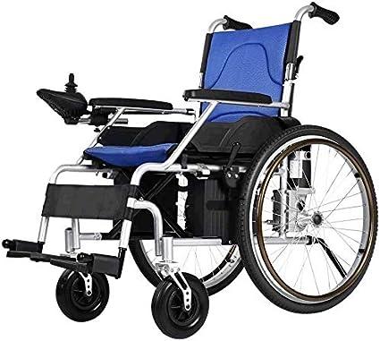 SISHUINIANHUA Silla de Ruedas eléctrica para los Ancianos discapacitados, 500W Worm Gear Motor, Conducir con energía eléctrica o el Uso como Ruedas Manual, Anchura del Asiento 66 cm, Azul, 20Ah