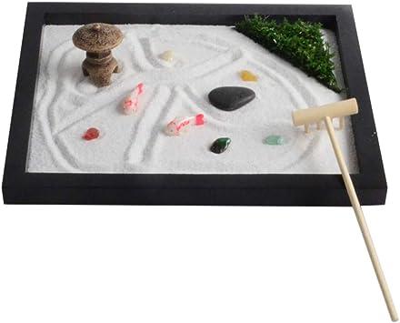VOSAREA Mini Jardín Zen en Miniatura Juego de Miniaturas Japonesas Caja de Arena con Adornos de Madera Bandeja de Arena con Mini Rastrillo para Meditación Y Relajación (Estilo 3): Amazon.es: Deportes y