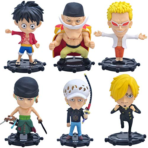 Coz' Place Set of 6 Pieces Mini One Piece Action Figures with Rudder Stands (Luffy, Zoro, Sanji, Whitebeard, Doflamingo & Trafalgar Law)