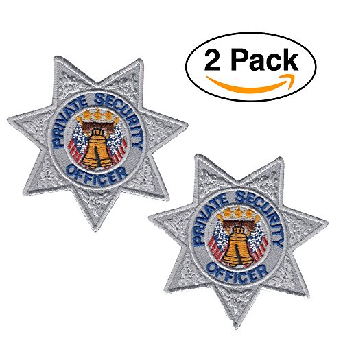 2 Pack – Private Security Guard, Officer Shoulder Patch Embroidered Star Shape, Silver