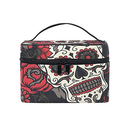 Nander Travel Cosmetic Bag Halloween Sugar Skull Toiletry Makeup Bag Pouch Tote Case Organizer Storage For Women Girls