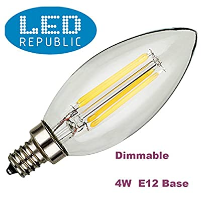 LED Republic 5-PACK 4W Dimmable E12 LED Bulbs, 35W Incandescent Bulbs Equivalent, UL Listed, Candelabra Bulbs, 350lm, 120° Beam Angle, Warm White, 2700K, LED Candle Bulbs, LED Light Bulbs,