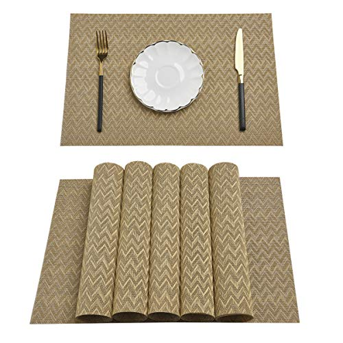 Pauwer Gold Placemats Set of 6 for Dining Table Woven Vinyl Placemat Heat Insulation Kitchen Table Mats Wipe Clean (Set of 6, Gold)