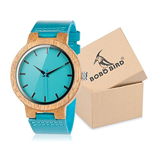 Bobo Bird - Reloj Madera con Pulsera Piel Azul Cebra - MODELE WC 28: Amazon.es: Relojes