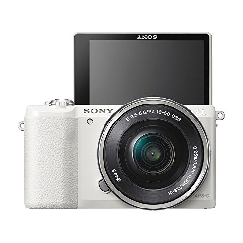 Sony a5100 ILCE5100L/W ILCE5100L ILCE5100 ILCE5100lb 16-50mm Interchangeable Lens Camera (White) and SEL 55-210 Zoom Lens (Black) with 3-Inch Flip Up LCD (Black) Bundle with Sony 32GB Class 10 SD card, Spare Battery, Rapid AC/DC Charger + More