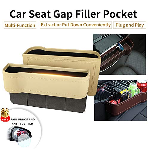 Console Side Pocket, PU Leather Car Seat Gap Filler Organizer Catcher with Cup Holder, Pack of 2 (Beige)
