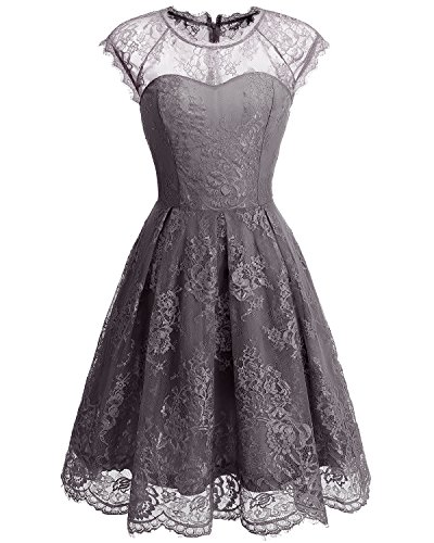 Bbonlinedress Vestido de Fiesta Floral del Oscilación del Cóctel del Cordón del Cuello Redondo de la Vendimia de Las Mujeres Grey
