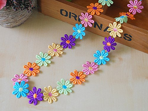 Embroidery Colorful Flower Pattern Shape Trim Applique Ribbon 5 Yards Sewing DIY Craft (Multi Color) (Patterns Applique Flower)