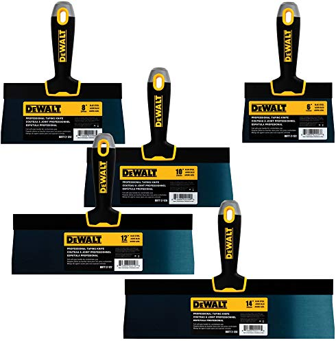 DEWALT Blue Steel Taping Knife 4-Pack | 8/10/12/14-Inches + FREE 6-Inch BONUS | Soft Grip Handles| DXTT-3-162 (Blue Taping Knife)