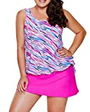 EVALESS Women's Plus Size Swimsuits Shoulder Strappy Tankini with Skirted Swimsuit XX-Large Pink