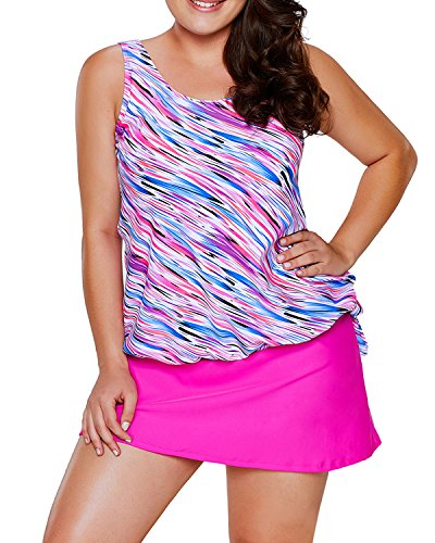 EVALESS Women's Plus Size Swimsuits Shoulder Strappy Tankini with Skirted Swimsuit X-Large Pink (Plus Size Tankini With Skirt)