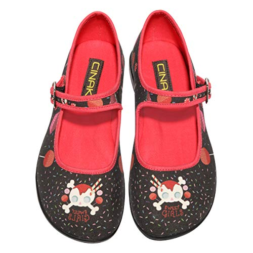 CINAK Mary Jane Flats Women- Comfortable Ballet Flats Black Candy Skull Wide Width Soft Shoes for Lolita Cosplay Casual Ankle Buckle Strap(9-9.5 B(M) US/ CN41 / 10'',Black)