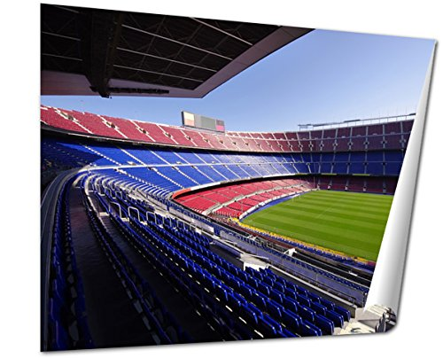 - Ashley Giclee Wide View Of Fc Barcelona Nou Camp Soccer Stadium Wall art heavy thich museum grade artist paper, poster artwork ready to frame, 20x25 Print