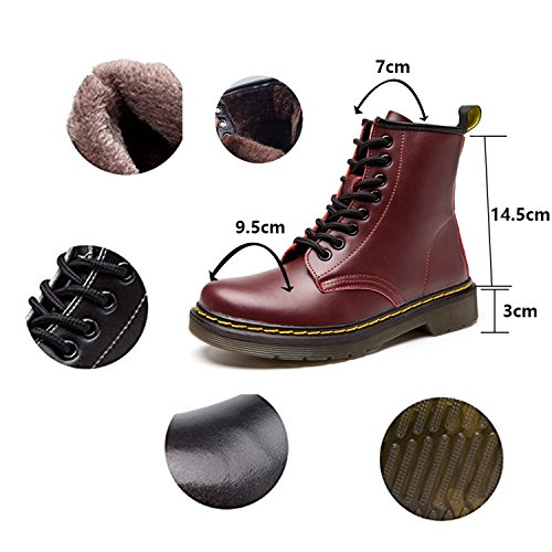 Hiver Cuir Plates Ukstore Bottes homme bottines Botte Fourr Martin Femme 1YZUY6