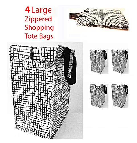 Set of 4 (Black/White) Shopping Bag Zippered Grocery Tote Gifts Reusable Tkmini9 from Unknown
