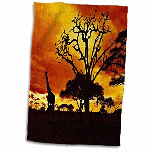 3D Rose Giraffe on African Plains at Sunset Animal Safari Africa TWL_173293_1 Towel, 15