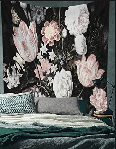 "Black Blossoms Beautiful Flowers Wall Hanging Floral Tapestry Fabric Wallpaper Home Decor,60""x 81"",Twin Size"