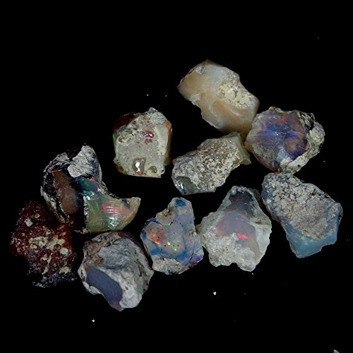dadu_creation 35.85CT Natural Ethiopian Crystal Opal Play Of Fire Color Rough Specimen Lot - Fire Opal Crystal
