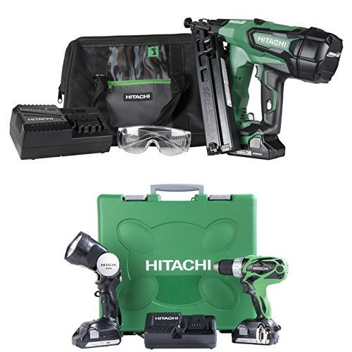 Hitachi NT1865DMA 18-Volt Cordless 15 Gauge Angled Finish Nailer and DS18DSAL 18-Volt Cordless Driver Drill with Flashlight (Angled Cordless 18v Finish Nailer)