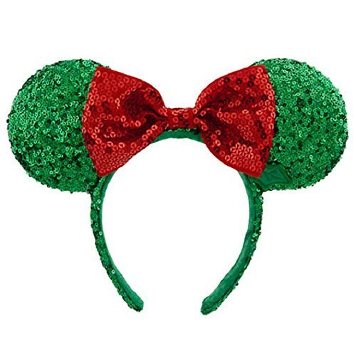 Sequin Minnie Mouse Ears (Disney Minnie Mouse Christmas Headband Ears Sequins Bow Green Red Theme Parks)