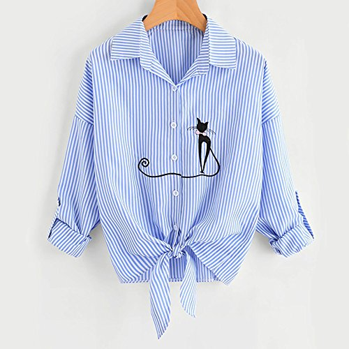 Blouse Arc Chat Haut Bleu de SANFASHION Femme Mode Chemise Chic Vtement Manche T Noeud Imptime lgant Shirt Longue 8q8716wA