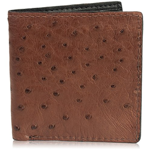 Genuine Brown Ostrich Skin Leather Hipster Wallet Handmade with 12 Card Slots