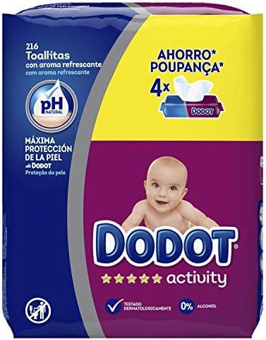 Dodot Activity -Toallitas para bebé, 4 paquetes de 54 unidades, Total: 216 toallitas: Amazon.es: Alimentación y bebidas