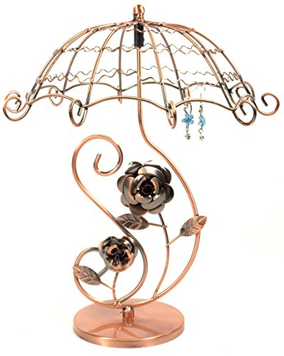 Bejeweled Display® Vintage Style Copper Tone Umbrella Rose Earring Tree~ Jewelry Display