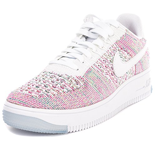 Nike Womens W Air Force 1 AF1 Flyknit Low White/Radiant Emerald-Multi Color Fabric Size 10
