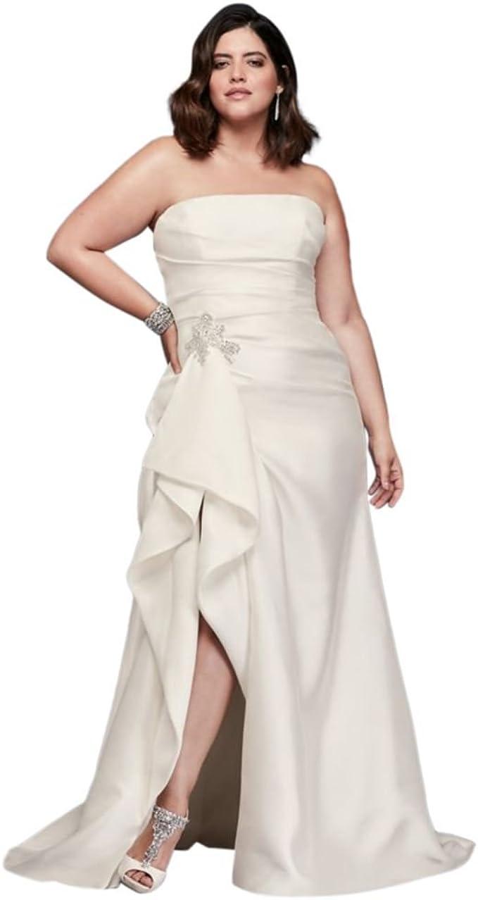 Mikado Plus Size Wedding Dress with Slit Skirt Style 9SWG788 ...