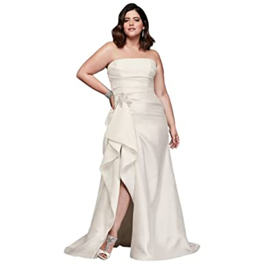 David\'s Bridal Mikado Plus Size Wedding Dress with Slit ...