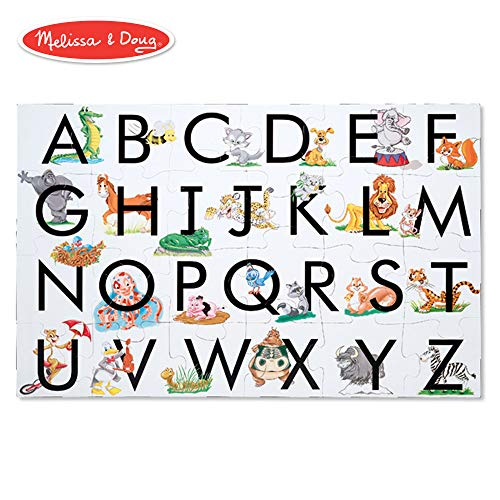 "Melissa & Doug ABC Learn the Alphabet Floor Puzzle (Easy-Clean Surface, Promotes Hand-Eye Coordination, 24 Pieces, 24"" L x 36"" W)"