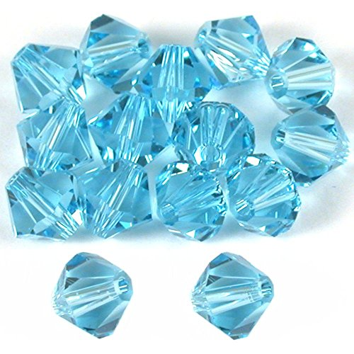 15 Aquamarine Bicone Swarovski Crystal Beads 5301 6mm