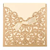 Zehui Graceful Laser Cut Lace Hollow Bowknot Wedding Invitations Cards Kits with Tri Fold Printable Paper and Envelopes Golden 50pcs