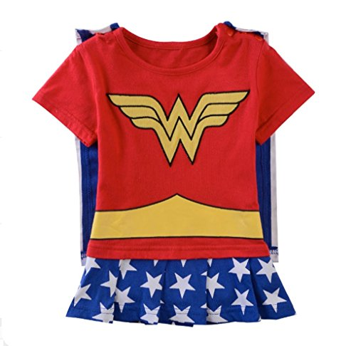 Rush Dance One Piece Super Hero Baby Wonder Baby Woman Romper Onesie Suit Cape (80 (9-12M), Wonder Woman (Red & Blue & White))