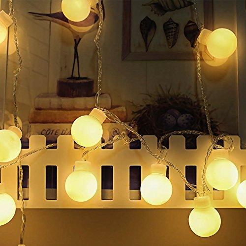 40 Bulbs LED Fairy String Light Ball Shaped Curtain Lamp 40 bulbs 20ft/6m Christmas Party Wedding Outdoor Home Decor (Light Bulbs Fairy)